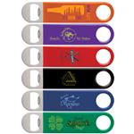 Color Wrapped Classic Paddle Bottle Openers in Stainless Custom Printed