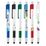 Antimicrobial Colorama stylus and ballpoint pen in assorted colors.