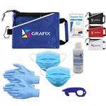 Deluxe PPE Kit with 2 sets of 3 ply masks, 2 sets of nitrile gloves, one 4 oz hand sanitizer, touch tool and guide with your custom logo