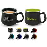 Le Castor Designer Mug with a coffee house design and your custom imprint.