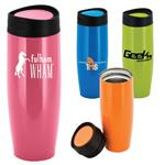 Saturn Tumbler in awareness pink and other color with custom imprint, stainless steel