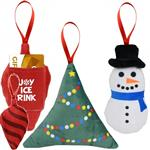 Scented Custom Ornaments - Promotional Scented Ornament• Polyester  • Designed as an ornament  • Each ornament is scented to match a favorite holiday scent  • The decorated tree features the fresh scent of pine trees  • The snowman features the minty-fresh scent of peppermint  • The ornament features the spicy scent of cinnamon  • Pocket on the back is the perfect size for gift cards