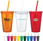 Spirit double walled acrylic tumbler with straw and custom logo