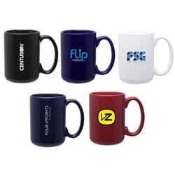 15 oz Grande Ceramic Mugs with custom logo in bulk