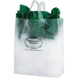 Clear Frosted  Plastic Shopping Bags 13 x 5 x 16