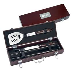 Custom 3 Pc. Executive Engraved BBQ Sets in Wood Case