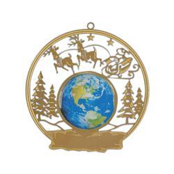 Santa with Reindeer Brass Ornament
