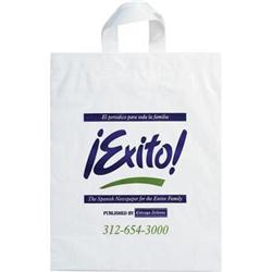 Soft Loop Handle Custom Plastic Bags 12 x 15 x 5 White