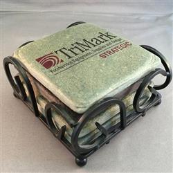 Tumbled Stone Coasters - Wrought iron Boxed Set of 4 Slate
