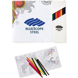 "Deluxe 7""x7"" Adult Coloring Book & 8-Color Pencil Set and Custom CoverAdul"