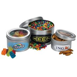 Custom Filled Assorted Candy and Nuts in Large Window Tin