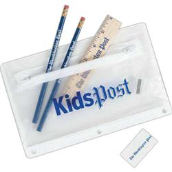 Back to School Kit with Pencil Pouch, pencil,  eraser and sharpener included.