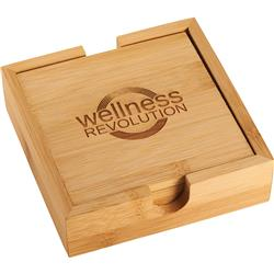 Bamboo Coaster Set Customized with your Logo by Adco Marketing