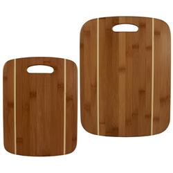 2 Piece Striped Custom Bamboo Cutting Board Set with Laser Engraving