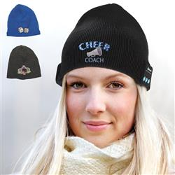 Bluetooth Beanie embroidered with your logo and headphones