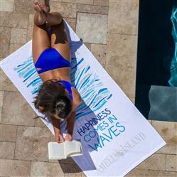 "Basic Weight Velour Custom Beach Towels 30""x60"" 10.5 lbs/doz"