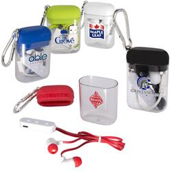 Budget Bluetooth® Earbuds in Carabiner Case customized with your logo