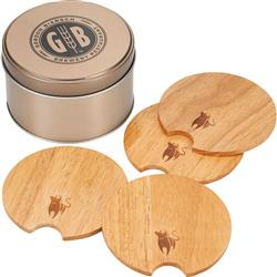 Bullware Wood Coaster Set Customized with your Logo by Adco Marketing