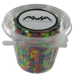 Custom chocolate covered sunflower seeds in a plastic container, branded with your logo.  Full color lable.