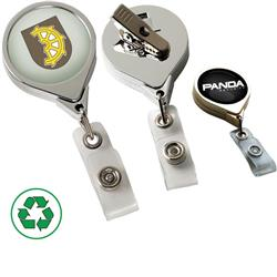 Retractable Badge Holders in Chrome or Gold with a full color dome imprint and high quality