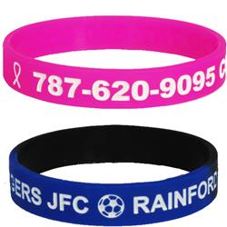 Color Filled Silicone Wristbands Debossed
