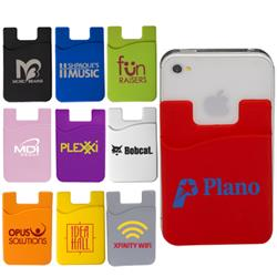 Silicone Mobile Device Pocket and Smart Phone Wallet with custom imprint