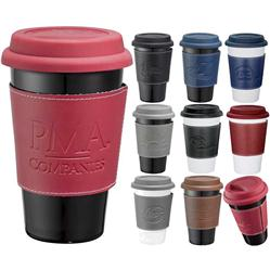 Custom Double Wall Ceramic Tumbler with Grip