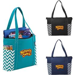 Custom Geometric Zippered Business Tote Bags by Adco Marketing
