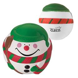 Custom logo snowman holiday stress reliever, promotional giveaway adco marketing.