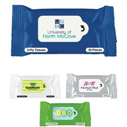 Custom Tissue Packets with Full Color Imprint