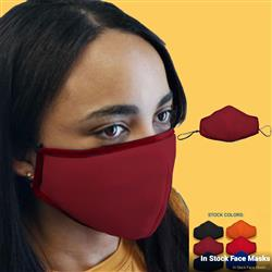Deluxe Face Mask with Adjustable Ear Loops, Nose Bridge, Filter Pocket, Poly Outer Layer and Cotton Inner Layer Custom Printed