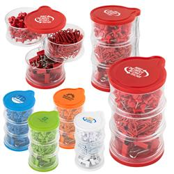 3 tier tower of paper clips and push pins in assorted colors.