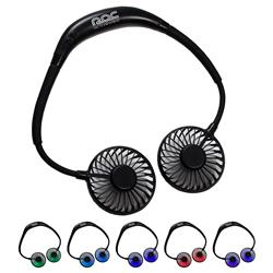Hands free dual breeze fan with 7 color changing mood lights.