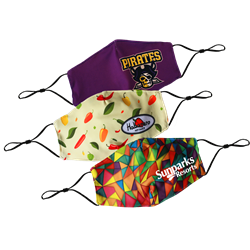Full color dye sublimated face mask, breathable, and moisture repelling.