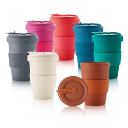 Reusable Bamboo Earth Tumbler with Matching Lid and Silicone Sleeve