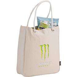 Essential Organic Cotton Grocery Tote with a promotional logo
