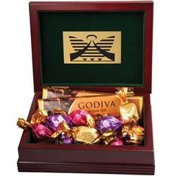 Godiva Wood Gift Box with Chocolate and Custom Imprint