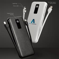 Fast Charger Power Bank with Built In Cords