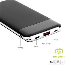 10,000 mAh Fast Charging Power Bank with Type C Input and Output for Mobile Devices and Laptops and More - All with your logo