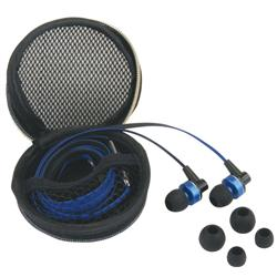 Flat Cable Earbuds with Microphone and Inline Controls in Promotional Case Custom Printed