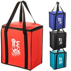 Flat Top Insulated Grocery Totes - custom printed promotional grocery tote bag