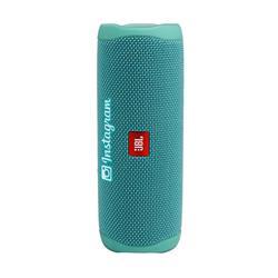 flip 5 waterproof portable speaker in teal with custom logo.