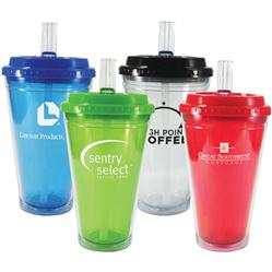 Flip Top Freedom Tumbler, BPA Free with built in sipping straw