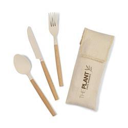 Gaia Bamboo Cutlery Set with Custom Bag