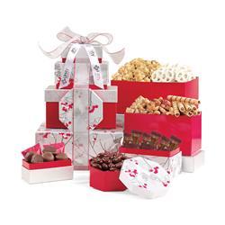 Elegant Gourment Sweet & Savory Food Tower Gift Basket