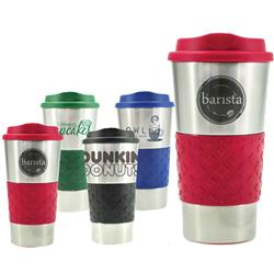 Grip n Go Stainless Steel Travel Mug with Grip and Silicone Lid custom imprinted.  16 oz.