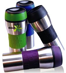 J-Steel Custom Spill Proof Stainless Tumbler with a promotional logo