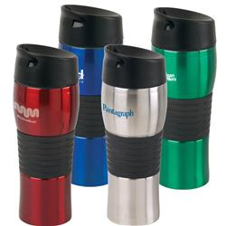 Java Vacuum Travel Mugs and Tumblers with spill proof lid and double walled stainless steel custom imprinted
