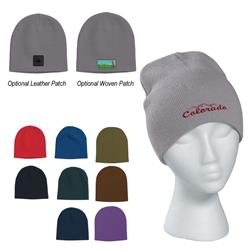 Knit Beanie Cap with custom embroidered logo or logo on leather patch