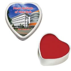 Heart Shaped Lip Balm Moisturizer Tin with a direct of full color custom imprint